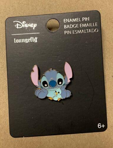 """Loungefly Disney Lilo & Stitch 1"""" Stitch with Blue Bird Enamel Pin"""