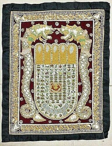 Vintage Thai Handmade Kalaga Calendar Wall Tapestry