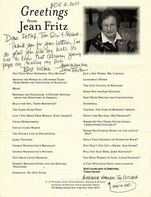 Jean Fritz † (USA) Schriftstellerin Children's writer original signiert/signed !