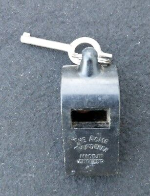 Vintage Acme Thunderer Black Plastic Police Whistle w/ Old Cuff Key - England