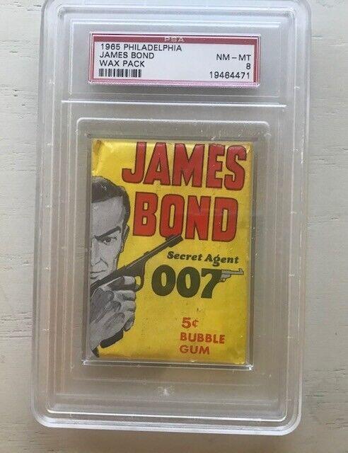 1965 original philly gum co. james bond seldom seen psa nicely graded 8 wax pack