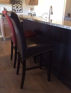 """Brown Leather 30"""" Bar Stools"""