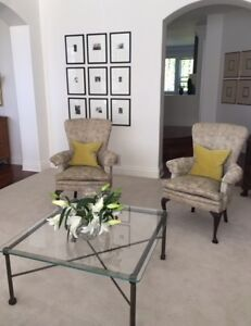 Antique upholstered arm chairs