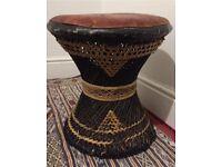 Lovely Stylish Vintage Bamboo woven Wicker handmade Rattan Stool, Leather Seat