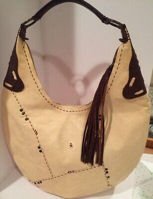 Henry Cuir Beguelin Cream & Brown Pebbled Leather Shoulder Bag Handbag #1421
