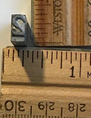 Vintage Antique Metal Printer Printing Press Block Tiny Number 2 7672