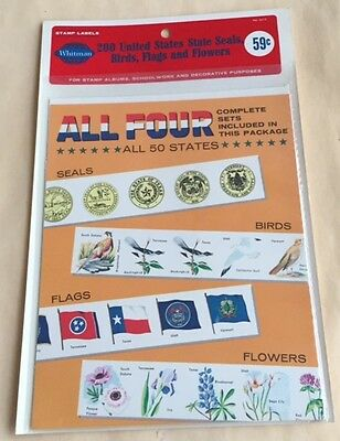 100 Packs Whitman Stamp #6612 200 United States State Seals Birds Flags Flowers