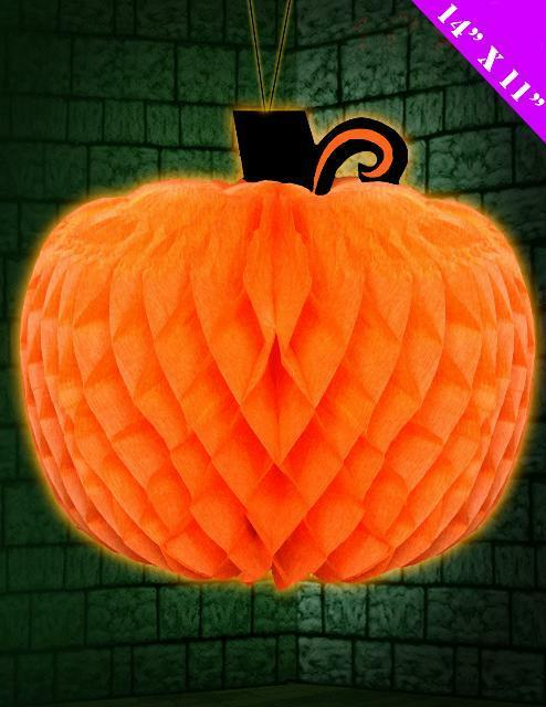 "Halloween Decoration Folding Honeycomb Pumpkin Large 14"" x 11"" NEW"