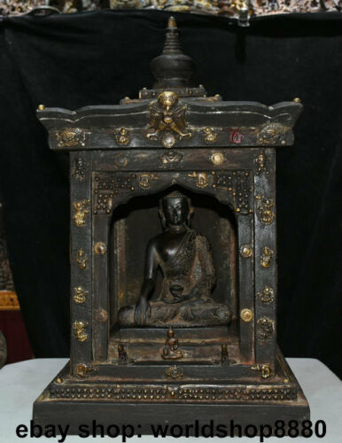 "22.4"" Old Tibet Buddhism Temple Wood Copper Shakyamuni Amitabha Buddha Shrines"