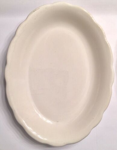 Vintage Original Buffalo China Plate Platter White Scalloped Edge Set of 3