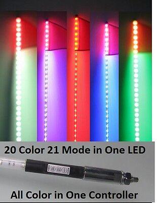 20 Color x 21 Mode in One 6 Feet Quick Release ATV UTV LED Light Whip with Flag