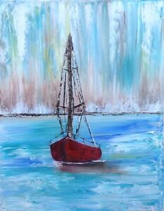 Original Oil Painting 'Little Red Sailboat'