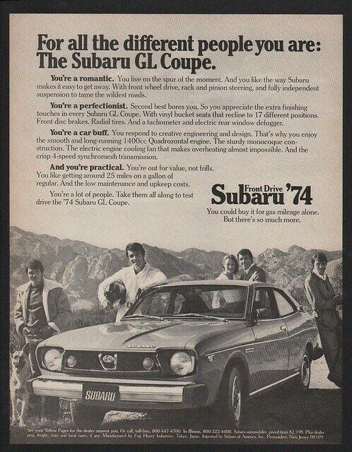1974 SUBARU GL COUPE Car VINTAGE AD