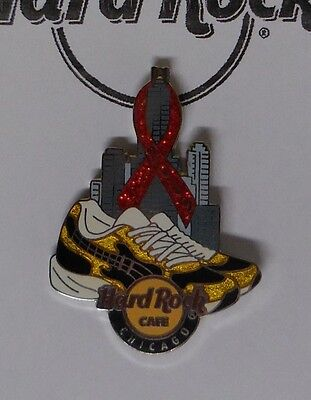 Hard Rock Cafe Pin Red Ribbon T Shoes & Skyline Chicago LE300 - Red Ribbon Chicago