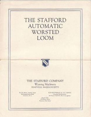 1912 Stafford Automatic Worsted Loom Illustrated Brochure