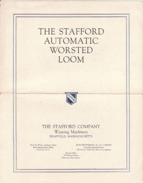 1912 Stafford Automatic Worsted Loom Illustrated Brochure
