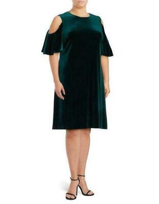 Calvin Klein NWT Plus size GREEN cold shoulder Velvet Dress 14W 16W 18W 20W