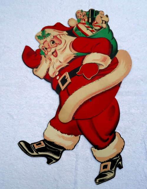 VINTAGE DIE CUT CARDBOARD JOINTED SANTA CLAUS CHRISTMAS DECORATION #1