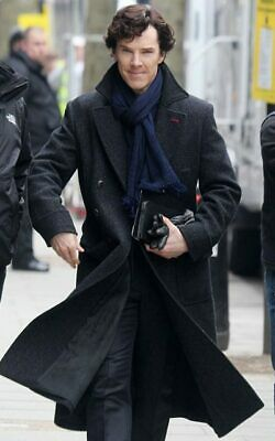 Detective Trench Coat Costume (Sherlock Holmes Coat Black Detective Wool Cape Robe Long Winter Long Coat)