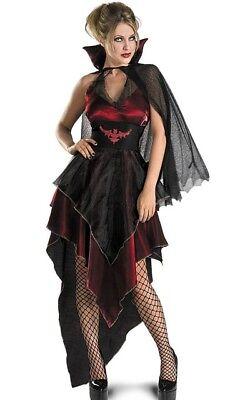 Vampira Damenkostüm 3pc Rot & Schwarz Sexy Kleid mit / Schleppe Umhang & (Sexy Vampira Kostüme)