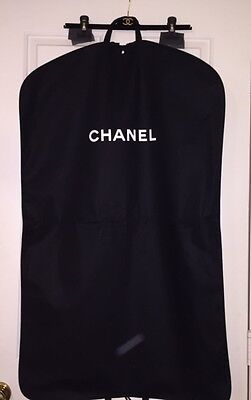 "Authentic Chanel Hanging Garment Bag + Velvet Slacks Skirt Hanger 40"" x 46"""
