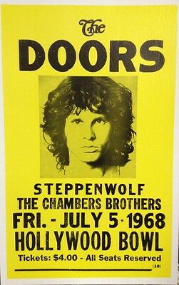 "The Doors Concert Poster - 1968 - Hollywood Bowl - w/ Steppenwolf - 14""x22"""