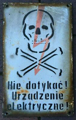 SKULL don't touch electric device! high voltage porcelain enamel sign, vintage