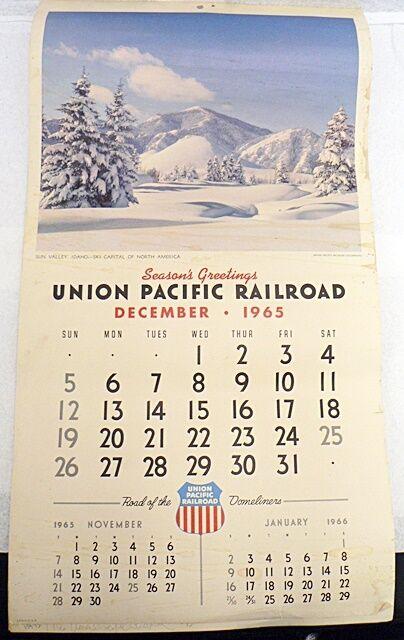 VINTAGE 1966 CALENDAR ADVERTISING UNION PACIFIC RAILROAD