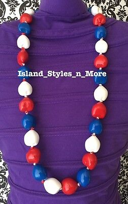 Hawaii Wedding Kukui Nut Lei Graduation Luau Hula Party Necklace RED WHITE BLUE