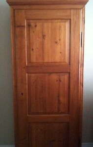 French antique red pine storage cupboard - six interior shelves