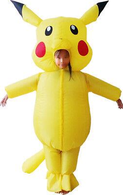 Unisex Inflatable pikachu  Costume Halloween kids Cosplay Mascot Outfit (Pikachu Halloween Costume Men)