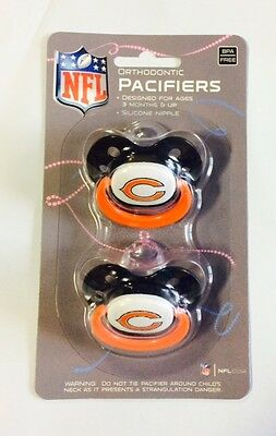 Chicago Bears Baby Infant Pacifiers New   2 Pack   Great Shower Gift
