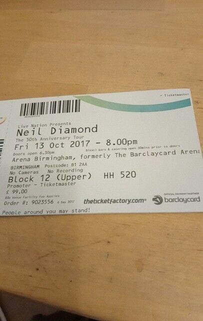 Neil Diamond concert, Birmingham 13th October