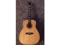 Handmade all solid wood acoustic guitar with hard case