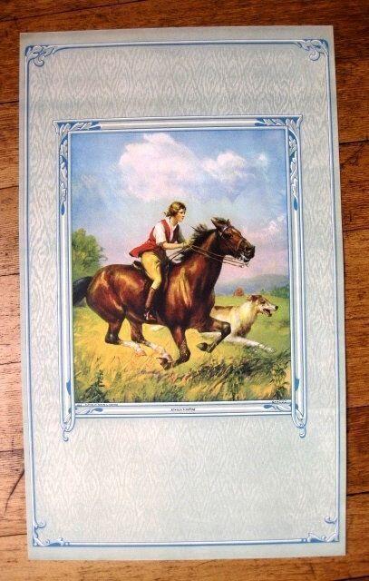 1940s Man Riding Horse w/ Irish Wolfhound Dog Running Next to It    M