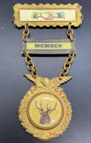 Vintage Elk Odd Fellow Pinback Member & Fraternal Handshake Tabs Pin Lapel