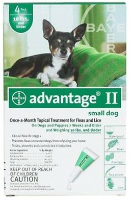 NEW Advantage Flea Control for Dogs and Puppies Under 10 lbs 4 Month Supply Advantage Flea Control Green