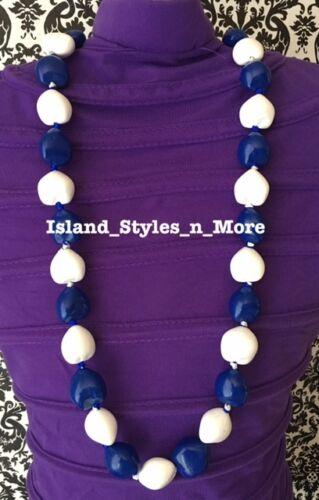 Hawaii Wedding Kukui Nut Lei Graduation Luau Hula Necklace SOLID BLUE WHITE NWT