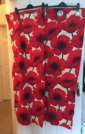 Red Poppy Curtains - new! Needs to go asap! We're moving!