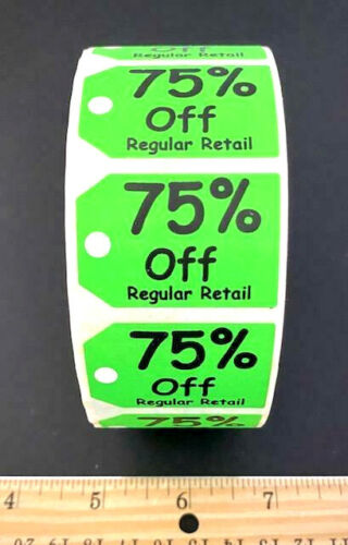 NEW!! ROLL OF 500 SHIPPING TAG SHAPED 75% OFF RETAIL STORE PRICE LABELS STICKERS