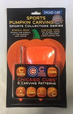 Chicago Cubs Pumpkin Carving Kit Halloween Stencils for Jack-O-Lantern (Halloween Pumpkin Carving Stencils)