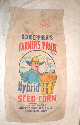 Farmer's Pride Hybrid Seed Corn Canvas Sack Farm Barn Advertising Nice Graghics