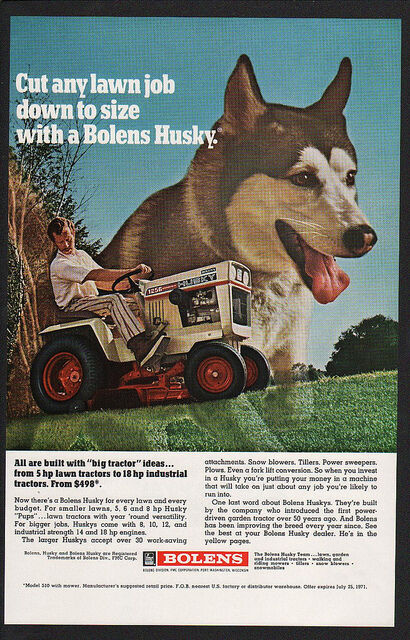 1971 BOLENS HUSKY Lawn Mower & Garden Tractor - SIBERIAN HUSKY DOG - VINTAGE AD