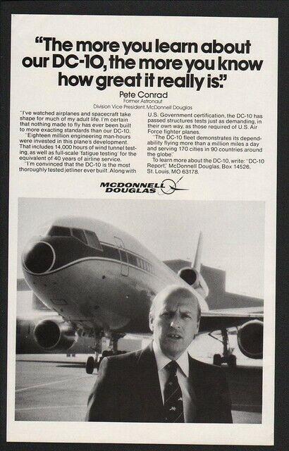 1980 MCDONNELL DOUGLAS -  DC-10 JET - ASTRONAUT PETE CONRAD -   VINTAGE AD