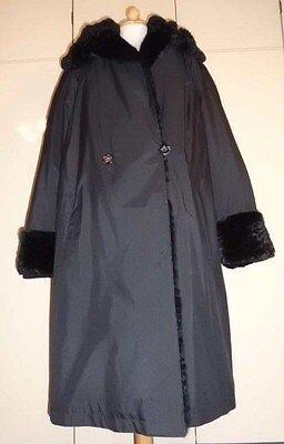 Kaninchen Pelz Schwarz Mantel (Hochwertig eleganter Kurz Mantel mit Kaninchenpelz, Schwarz, Gr.: 44, Top!)