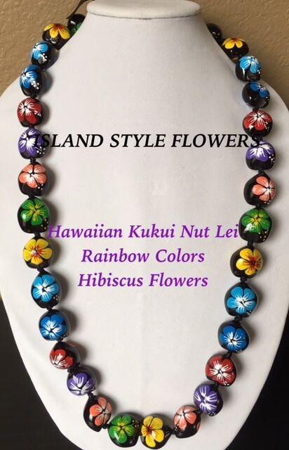 Kukui Nut Lei Multicolored Hibiscus Flower Necklace Hawaiian Graduation Wedding