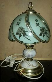 Floral Glass Shaded Table Lamp