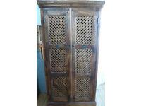 Vintage Solid Wood Jali Indian Cupboard Trelis Style Doors Shelves Bedroom Storage Paint project?