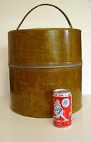 1960's round patent leather hat box/wig carrier/storage case