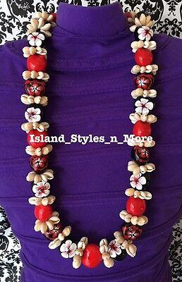 Hawaii Wedding Kukui Nut Lei Cowrie Shell Graduation Necklace Luau Wedding RED